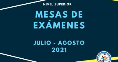 Mesas de exámenes – Nivel Superior